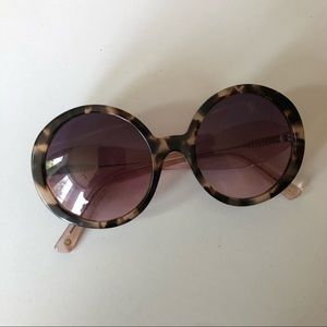 Anthropologie Oversized Round Sunglasses Pink